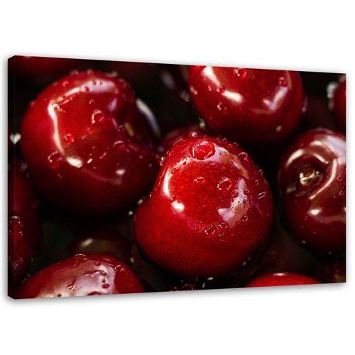 Impression sur toile Tableau Image murale moderne Canevas Fruits Cerises Gouttes 120x80