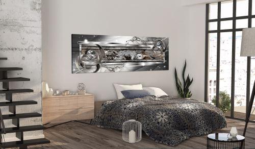 150x50 Tableau Modernes Abstraction Distingué Silver Source