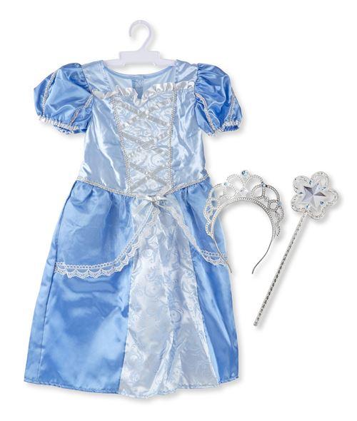 Ensemble de jeux de rôle Royal Princess (3 pièces) - Robe bleue, diadème, baguette