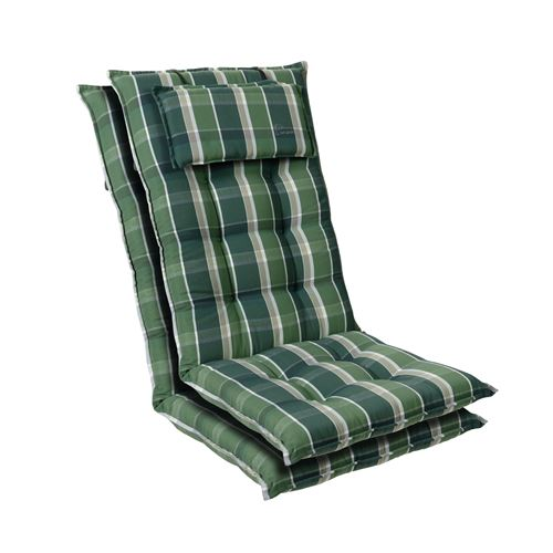 Coussin de chaise de jardin -Blumfeldt Sylt -120 x 50 x9 cm -2 pièces -Vert / Gris