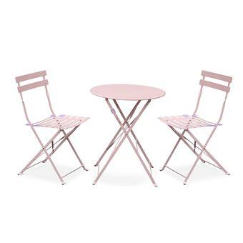 Salon de jardin bistrot pliable - Emilia rond rose pale ...