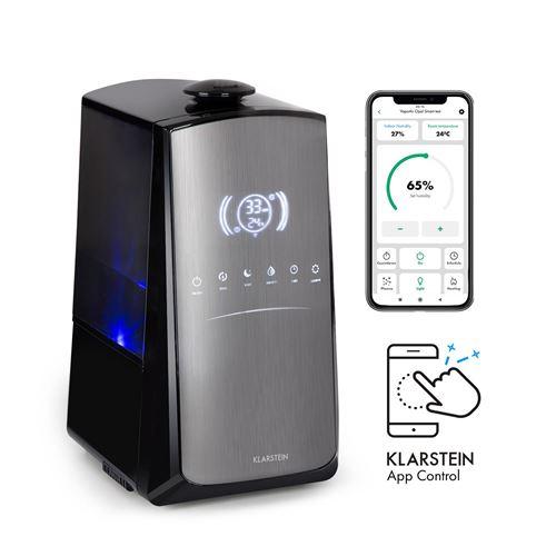 Klarstein VapoAir Opal Smart - Humidificateur d'air connecté 300 ml/h, fonction ioniseur , réservoir 5 litres - Noir