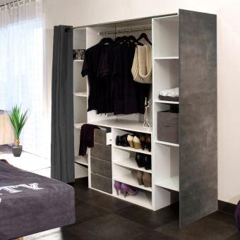 Dressing 2 colonnes + meuble 4 tiroirs, rideau gris - Achat ...