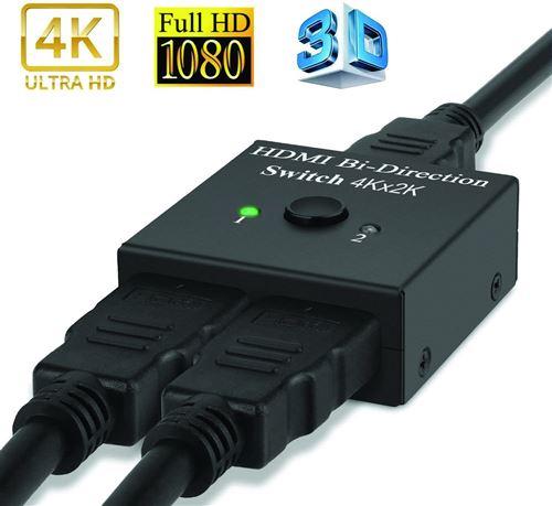 Répartiteur HDMI 4K à 2 Ports bidirectionnel, Ultra HD 4K Alpexe®