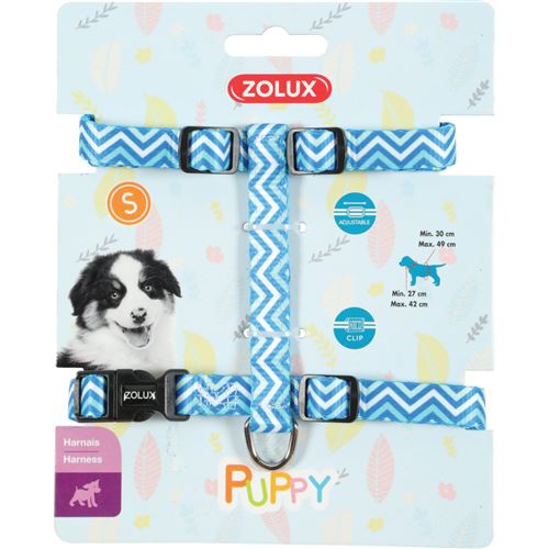 Harnais S PUPPY PIXIE. 13 mm. 27 à 42 cm. couleur bleu. pour chiots - zolux - ZO-466746BLE