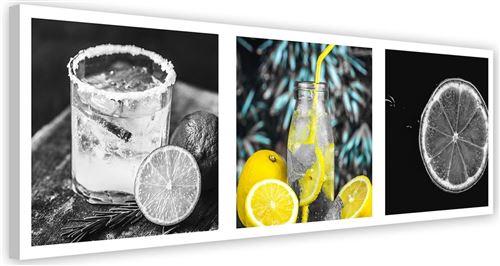 Tableau Image Art moderne Impression sur toile Canevas Set Boisson Citron 90x30