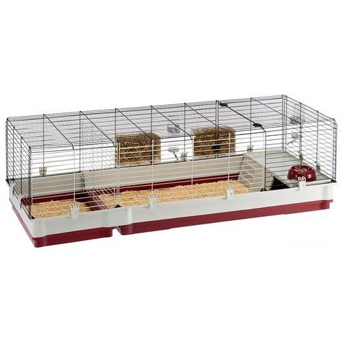 Ferplast Cage pour lapins KROLIK 160, cochons d'inde, clapier, kit de montage, extension séparable grâce aux grilles métalliques. Accessoires inclus, 162 x 60 x h 50 cm Bordeaux