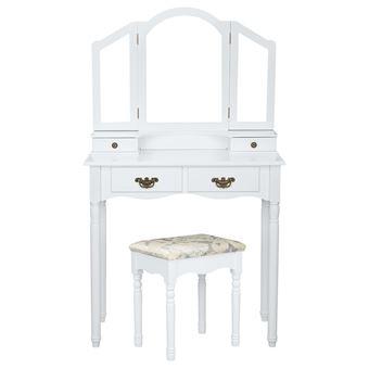 Coiffeuse meuble maquillage victorien avec 3 miroirs blanc achat prix fnac for Coiffeuse meuble blanc