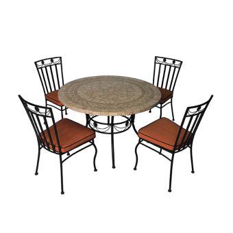Salon de jardin, 4 chaises et 1 table ronde