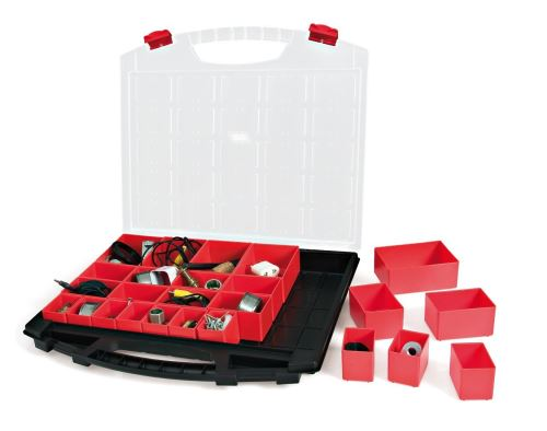 Tayg boîte de rangement 50 430/25/430 x 55 x 370 mm, 25 embouts solides, noir, rouge, transparent, 031007
