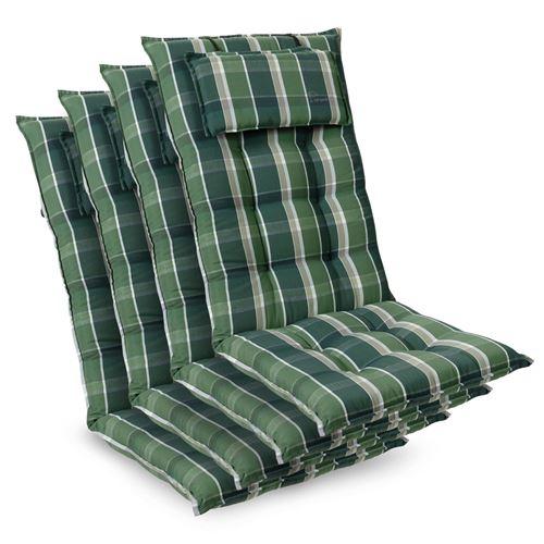 Coussin de chaise de jardin -Blumfeldt Sylt -120 x 50 x9 cm -4 pièces -Vert / Gris