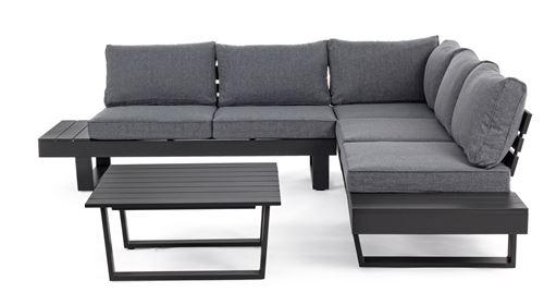 Salon d'angle coloris anthracite en aluminium -PEGANE-