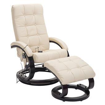 acheter populaire 8f917 1b064 Fauteuil de massage et relaxation électrique chauffant inclinable avec  repose-pied capitonné crème