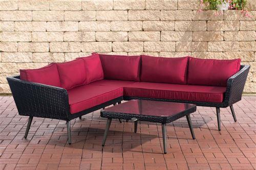 Canapé d'angle Skara Noir en polyrotin plat , Rouge rubis/40 cm (Dunkelgrau)