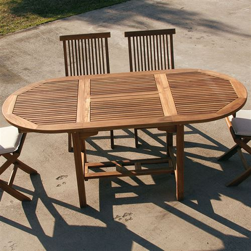 Table de jardin ovale en bois extensible LISERON - L 180 x P 90 x H 76 cm
