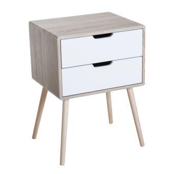 Chevet Table De Nuit 2 Tiroirs Design Scandinave Bicolore Pieds