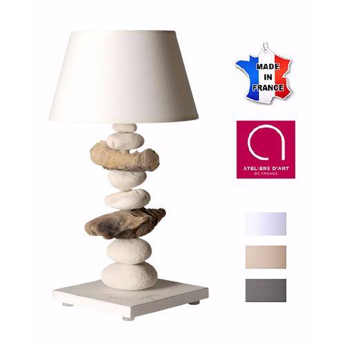 Lampe de chevet bord de mer en bois et galets - Personnalisable - Fabriqué à la main en France 40 cm - Blanc avec personnalisation - 20