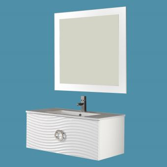 Meuble Suspendu 80 Cm Boreal Blanc Vasque Miroir