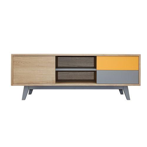 Pirotais Buffet TV chêne massif et laqué, 1 porte 2 tiroir 1 niche, Made in France Jaune