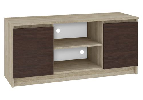 DUSK   Meuble bas TV contemporain salon/séjour 120x55x40 cm   2 niches + 2 portes   Rangement matériel audio/video/gaming   Sonoma/Wenge