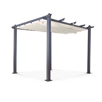 Avril Paris - Tonnelle/Pergola aluminium 3x3m toile coulissante rétractable  - Gris Ecru - Hero