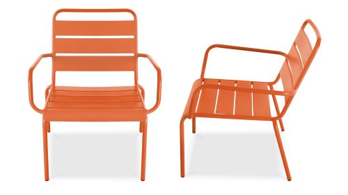 Fauteuil de jardin bas en métal, Palavas - Orange - Mobilier de ...