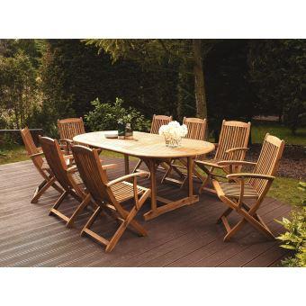 Beliani - Table et 8 chaises de jardin en bois acacia Maui ...