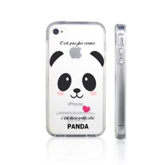 Coque Iphone 4 4S panda coeur rose cute kawaii transparente