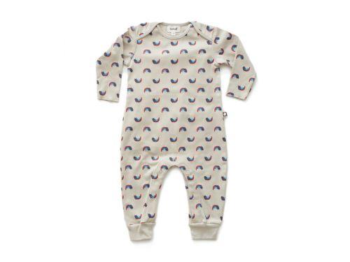 Oeuf Baby Clothes - Combinaison chats/arcs-en-ciel coton bio grise 6/9M