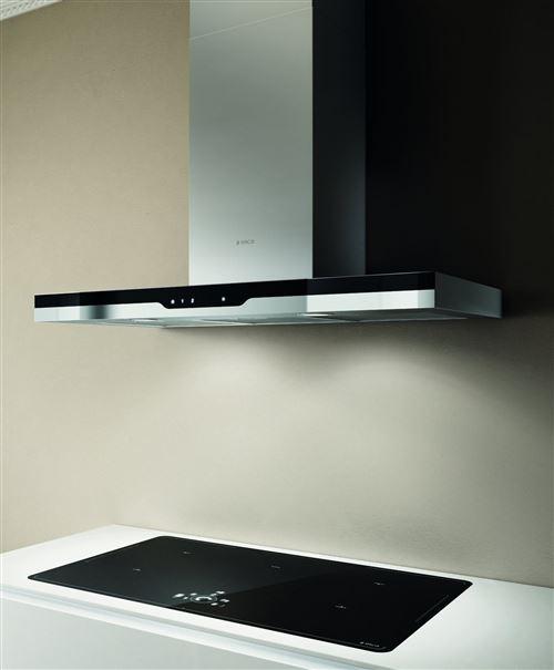 Elica Top IXBL/A/90 - Hotte - hotte décorative - largeur : 89.8 cm - profondeur : 45.4 cm - extraction et recirculation (avec kit de recirculation supplémentaire) - verre inox/noir