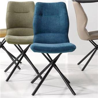 Nouvomeuble Chaise Salle A Manger Bleue Design Ezo Lot De 2