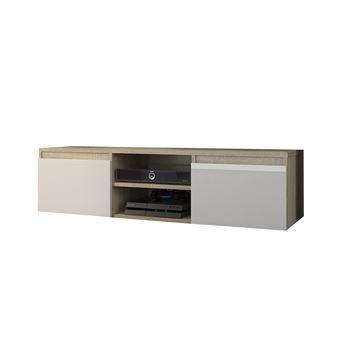 GOREME S1 | Meuble bas TV contemporain salon/séjour 120x40x36 | 2 niches 2  portes | Rangement moderne matériel audio/video/gaming | Sonoma/Blanc Gloss