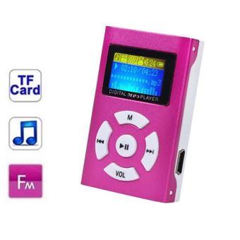 Lecteur MP3 à carte mémoire - clip ceinture - Ecran LCD - Radio FM - Rose