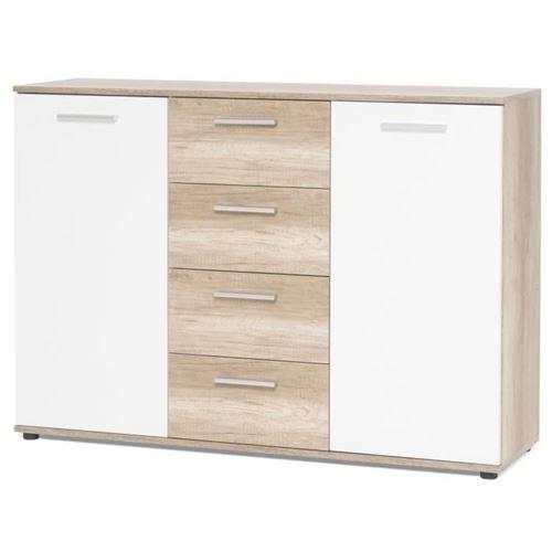 JACKY Buffet bas classique décor chene sauvage et blanc mat - L 120 cm