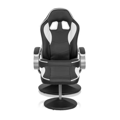 Fauteuil repose-pied / Fauteuil de relaxation GAMER PRO WH 110 simili cuir noir / blanc