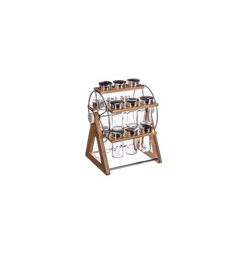 Support roue + 15 pots à épices - 27 x 24.9 x 31.5 cm - Bambou - Marron