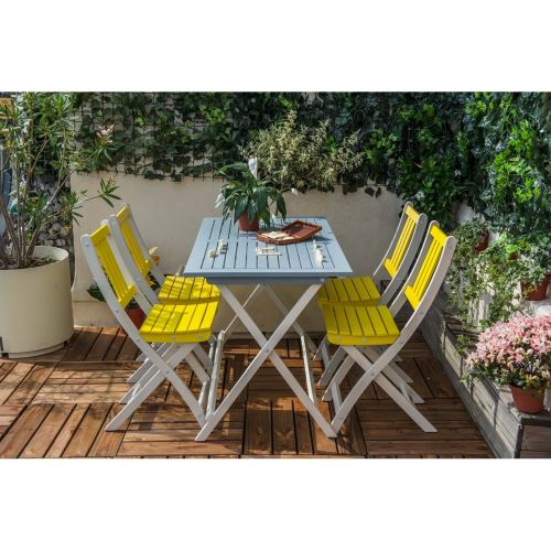 Table de jardin pliante rectangulaire BURANO CITY GREEN Bleu ...
