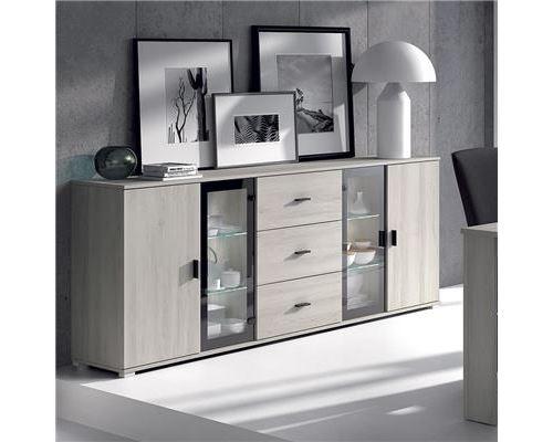 Buffet bahut couleur chêne gris contemporain SOPHIE-L 220 x P 40 x H 85 cm- Gris