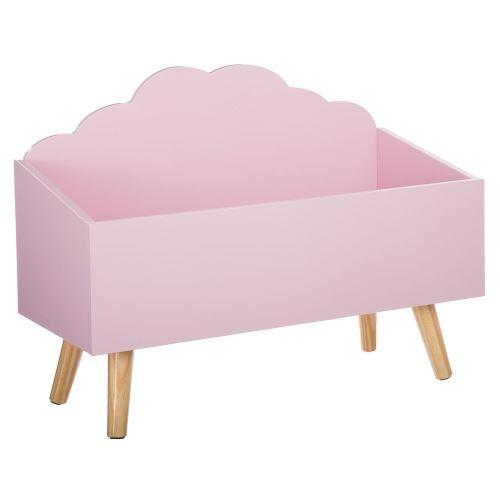 Coffre à jouets en bois nuage rose