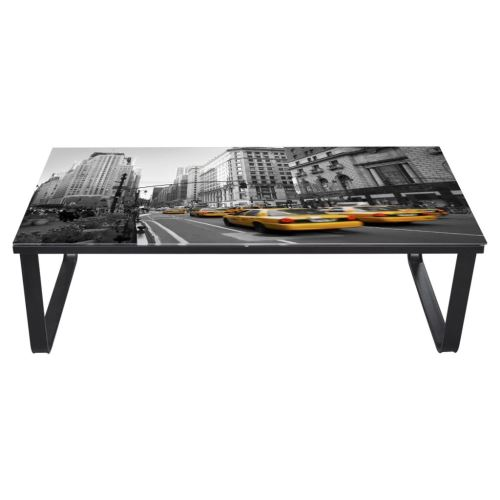 KKmoon Table Basse Rectangulaire en Verre Imprimé