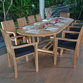 Salon de jardin en teck qualité Ecograde Santorin, 10/12 places ...