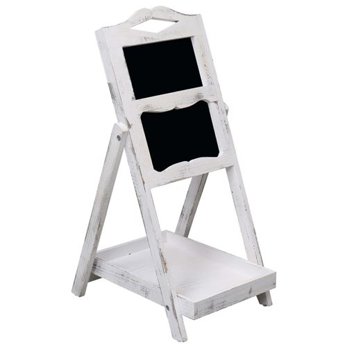 vidaXL Présentoir à tableau noir Blanc 33x39x75 cm Bois