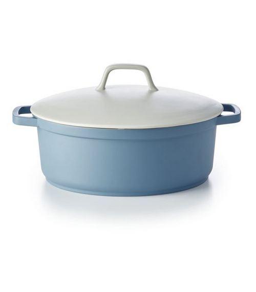 cocotte ovale en fonte d'aluminium 31cm blanc/bleu pastel - 15031314