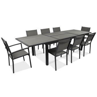Table de jardin extensible 10 places en aluminium et polywood - - Gris