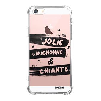 Coque pour iPhone 5 5S SE anti choc souple avec angles renforces transparente Jolie Mignonne et chiante Tendance Evetane