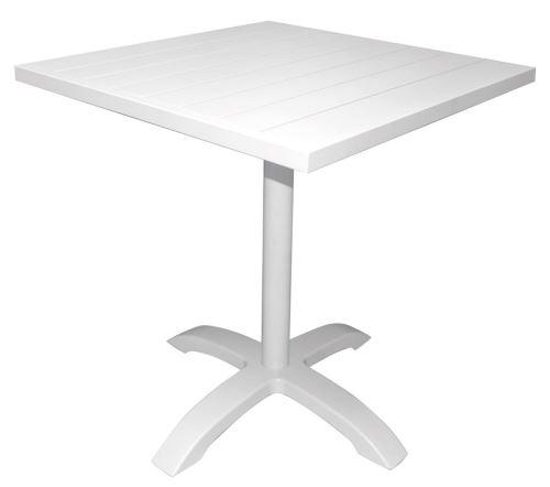 Table De Bar Coloris Blanc En Aluminium Revêtu Epoxy - Dim : 70 X 70 X 75 (H) Cm
