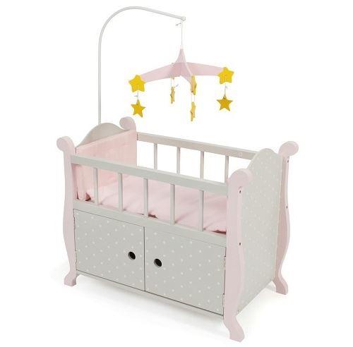 Lit armoire en bois poupée - gris et rose - dim. 57x31x78 cm