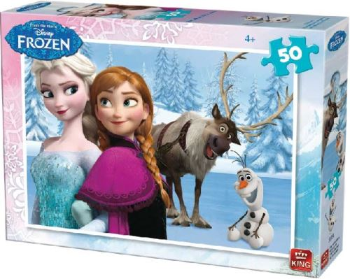 Puzzle 50 pieces disney - reine des neiges avec elsa olaf et sven - king - enfant