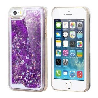 Coque rigide iPhone 5S collection Liquide Purple avec des etoiles et paillettes argentees
