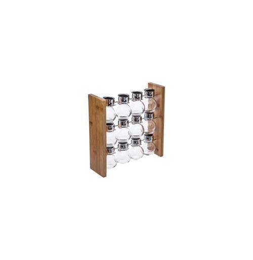 Support et pots à épices - 28,9 x 9 x 28,9 cm - Bambou - Marron